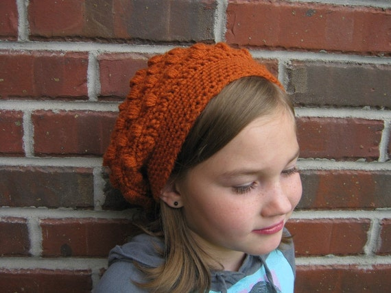 Crocheted Slouchy Hat - youth sized - Child - Children -  Orange - Charity - preteen- tween - fashion, accessories, fall, winter