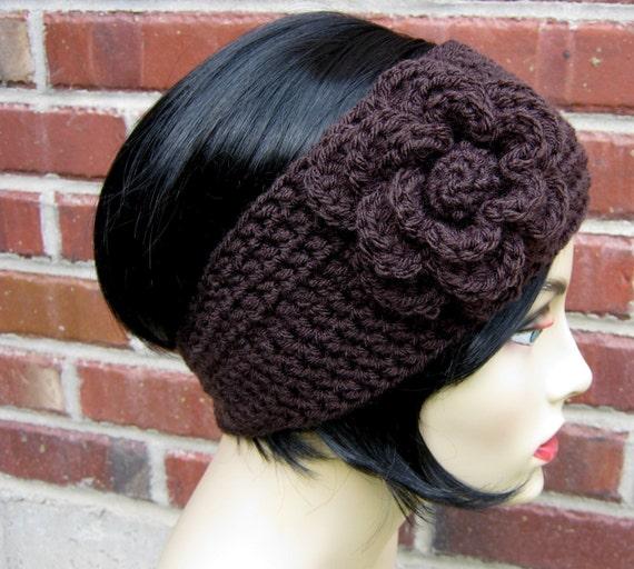 Flower Headband Tutorial: Espresso Crocheted Flower Headband/ Earwarmer Size 5T Adult