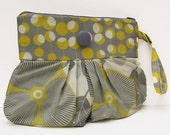 Perfectly Pleated Wristlet / Clutch in Amy Butler Optic Blossom  FREE SHIPPING