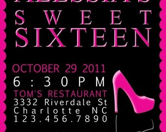 Sweet 16 (you print) birthday invitation - 4x6 or 5x7
