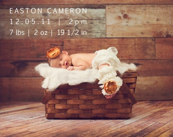 Simple custom baby announcement - You Print - 4x6 or 5x7