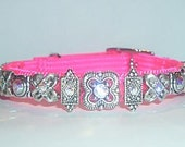 SWAROVSKI CRYSTAL DOG OR CAT COLLAR, SAFETY STRETCH, HOT PINK, FITS NECK SIZES 9-11 INCHES