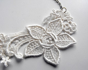 Necklace- Ivory Lace with Silver Chain