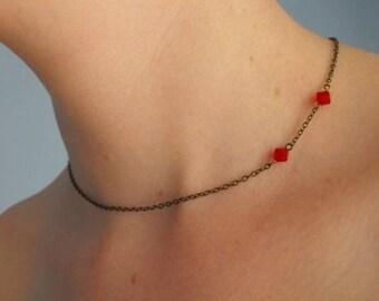 Vampire Bite Necklace / Fang Mark Choker/ Twilight Jewelry/ Buffy/ Red Crystal