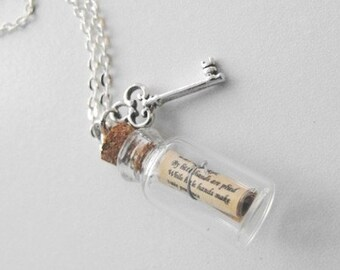 Alice in Wonderland Message in a Bottle Necklace with Key charm and Silver Chain