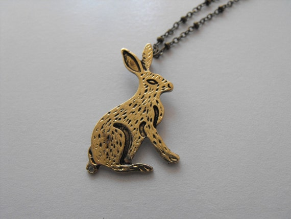 Golden Rabbit Necklace on a Brass Chain