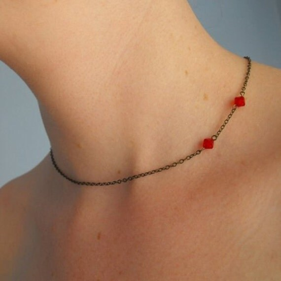 Vampire Bite Necklace / Fang Mark Choker/ Twilight Jewelry/ Buffy/ Red Crystal