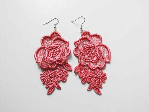 Dusty Rose Pink Lace Earrings with Silver Hooks