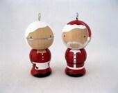 The Clauses Wood Peg Kokeshi Holiday Ornaments