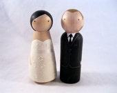 Wood Peg Doll Custom Wedding Cake Topper