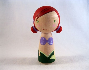 Simply Ariel the Little Mermaid Kokeshi Peg Doll