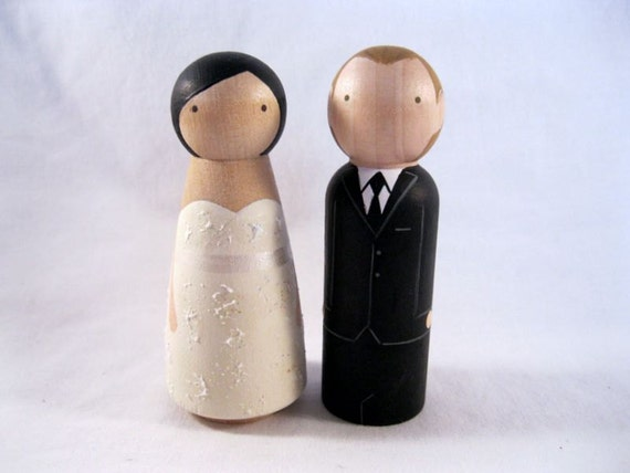peg doll wedding cake toppers uk wood peg doll custom wedding cake topper 18184