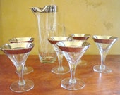 Mid Century Mad Men Martini Set of 6 Glasses and Pitcher- Silver Foil Rimmed