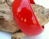RESERVED for mimbres100 Vintage 30s BAKELITE / Cherry Red Wide Bangle Bracelet