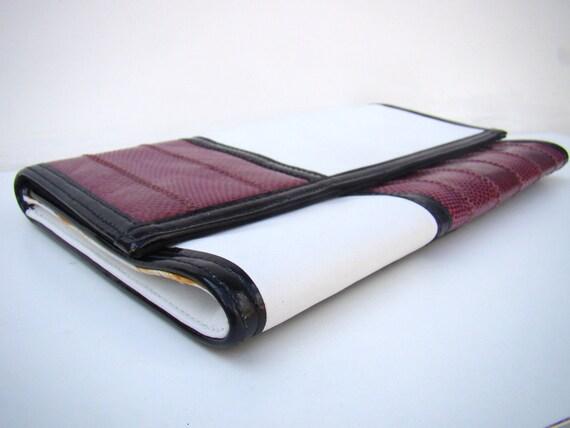 Vintage Mod Op-Art / Leather Snakeskin Clutch / Meyers / Envelope Clutch