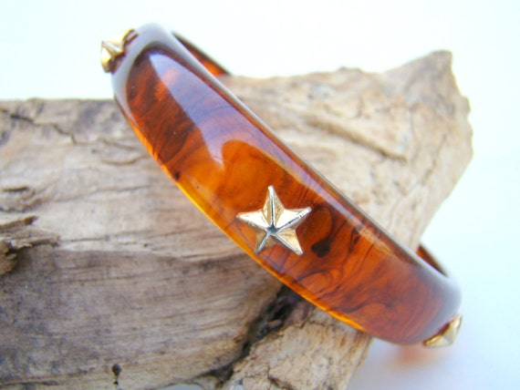 Vintage Rootbeer Bakelite Bangle Bracelet / Star Bakelite /1930s