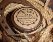 Santa Wears Cowboy Boots - (Leather & Pine)  4 oz mason jar candle