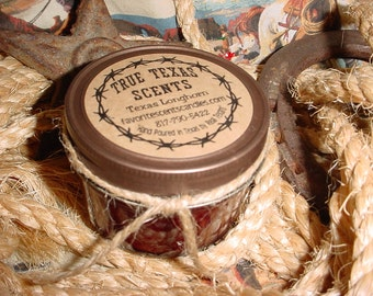 Western Pleasures (leather & cinnamon) - 4 oz Mason Jar Western Cowboy Candle