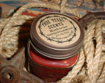 Moon Pie Scented- 8 oz Square Mason Jar Texas Western Cowboy Candle