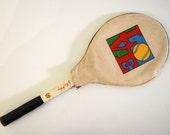 SALE Vintage Tennis Racket w Cover Billie Jean King Racket by Bancroft. 80s 70s