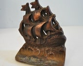 Ship Bookend Doorstop Vintage Rusty Metal Heavyweight Rustic Maritime Sailing Books Shelf