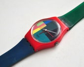 1985 Swatch Watch Authentic Vintage Swiss Made Basic Color Red Green Blue Small Size Ladies Design WORKS