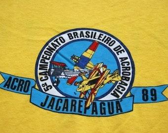 Vintage Tee Brazil Planes Dogfight 1989 Large Medium TShirt Super Thin and Soft