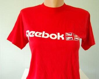 Vintage Reebok TShirt Tee Bright Red Super Soft and Thin MEDIUM SMALL