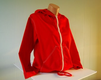 Vintage Red Hooded Jacket by Robbie Bee Bright Red and White