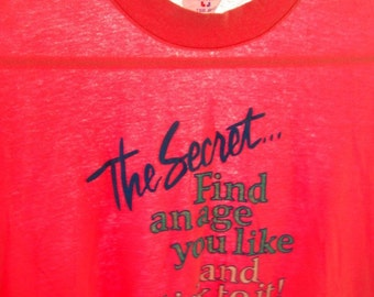 Vintage Pink TShirt Humor Pick an Age Stick To It Over the Hill  LARGE