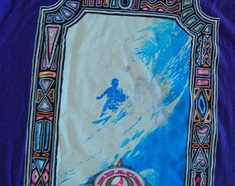 Neon Surf Tee Oversized Tshirt Ocean Waves Beach Rad 1980s 80s 90s XL