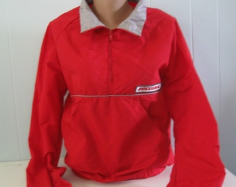 Red Windbreaker Ski Shell Jacket by Green Mountain Woolens Bright Red and Reflective Ladies Small