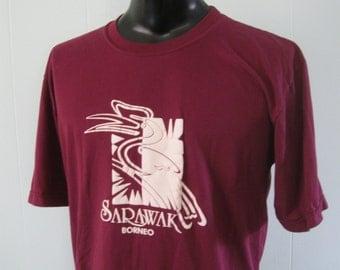 Borneo Tee Sarawak Maroon Bird Abstract Design Vintage Tee LARGE