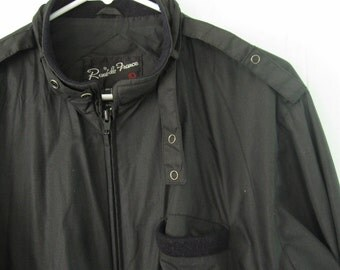 Vintage 80s Members Only Style Jacket by  1980s Black Coat retro LARGE