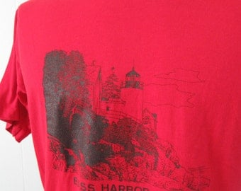 Vintage Maine 80s Tee Red Bass Harbor New England Lighthouse TShirt Super Soft Thin LARGE