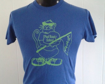 Vintage Paul Road School Rocheter NY TShirt Royal Blue Green Tee Soft n Thin SMALL