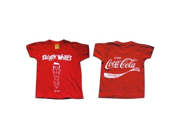 Super Old Tee Coca Cola Skippy White Super Soft and Thin Youth Tshirt Skinny Style XXS