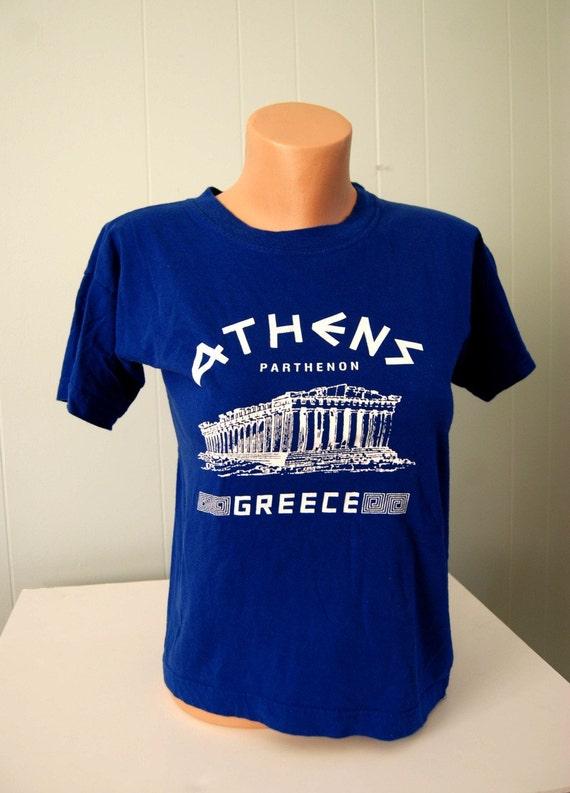 Vintage Greece Athens Tee Super Soft n Thin Royal BlueTShirt MEDIUM SMALL