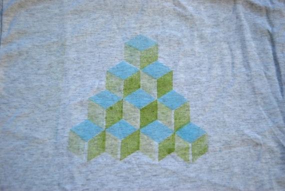 Qbert Cubes Tee Light Blue Green on Gray Original Design TShirt Geomtric Abstract SMALL
