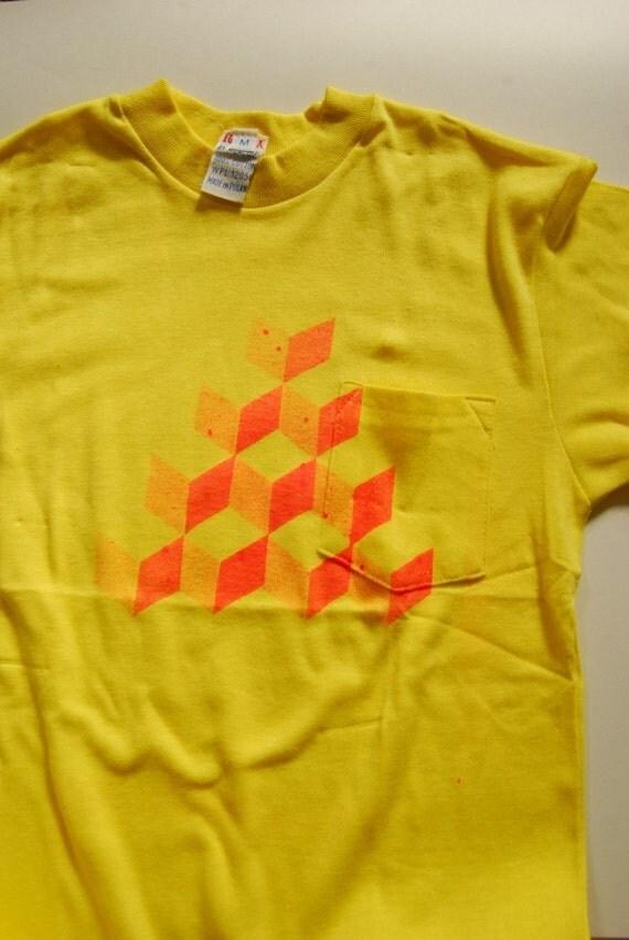 Qbert Cubes Tee Neon Pink on Vintage Yellow TShirt Geomtric Abstract Original  MEDIUM SMALL
