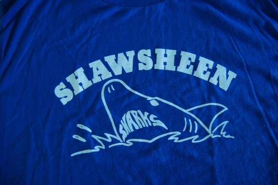 Sweet Shark Tshirt Shawsheen MA Royal Blue Vintage Tee XL