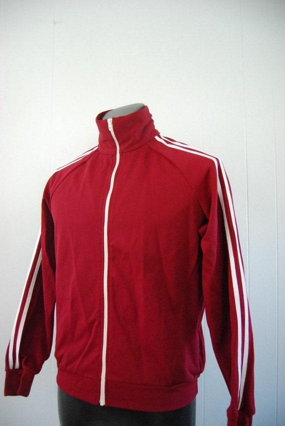 Vintage Track Jacket Warm Maroon White 70s Coat Sports Running LARGE