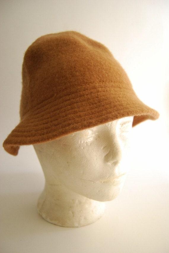 Brown Wool Vintage Bucket Hat Cap by Maurice Los Angeles CA