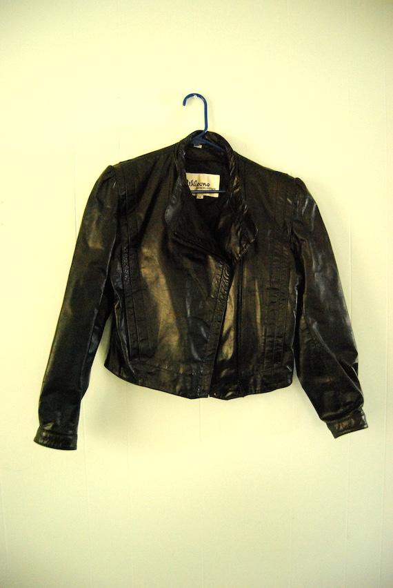 Vintage 80s Leather Jacket by Wilsons New Wave Punk Metal Ladies