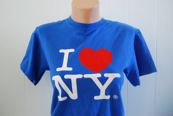 I Love NY Tee Royal Blue Red Distressed TShirt Nyc New York SMALL