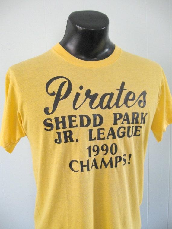 1990 Soft n Thin Yellow Baseball Tee Pirates Champs 90s Large