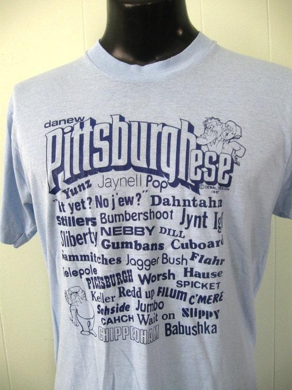 Vintage Tshirt Light Blue Pittsburgh Pennsylvania Retro Shirt Unisex MEDIUM LARGE