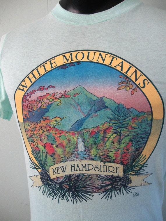 Amazing Vintage TShirt White Mountains NH Light Blue Super Soft n Thin Tee SMALL