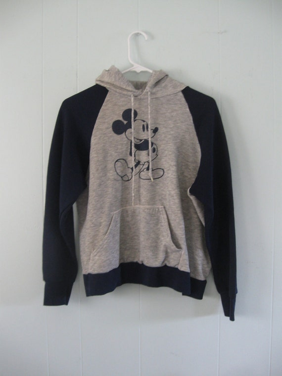 The Best Mickey Mouse SweatShirt Ever Navy Blue Gray Hoodie Super Thin Disney MEDIUM