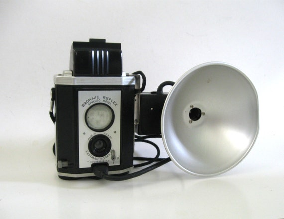 Brownie Reflex Synchro Model Kodak with Flash 1950s 50s  Camera TLR Twin Lens Style 127 Film